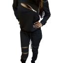 Women's Zip Detail Tracksuit Sweatshirt Joggers Set