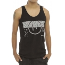 Unisex Casual Sleeveless Top in Black Cotton