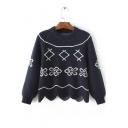 2016 Autumn New Fashion Floral Scalloped-edge Sweater
