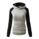 Women's Cotton Patchwork Contrast Color Warm Sports Hooded Pullover Hoodies