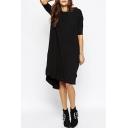 Plain Half Sleeve Round Neck High Low Hem Midi Dress in Black