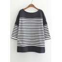 2016 New Striped Batwing Sleeve Round Neck Sweatshirt