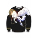 Unisex Fashion Horse Crew Neck Pullover Sweatshirt S-XL