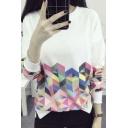 Fashion Geo Print Zip Detail Round Neck Long Sleeve Thin Sweatshirt