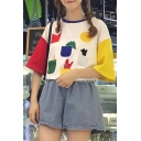 Fashionable Color Block Geo Print Loose Fit Round Neck Short Sleeve T-shirt