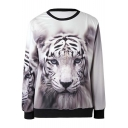 Women's Tiger Painting Thin Sweater Sweatshirt Good Quality