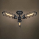 Industrial Style Three Light 20'' Wide LED Semi Flush Ceiling Light in Antique Silver Finish