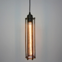 15''H Single Light Wire Cage LED Pendant in Antique Brass Finish