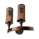 Antique Copper 2 Light Double LED Wall Sconce with Cylindrical Metal Shade