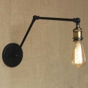 Edison Bulb Style Single Light Adjustable LED Wall Sconce in Black
