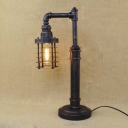 Classic Bronze Single Light Down Lighting Indoor LED Table Lamp with Cylinder Metal Cage