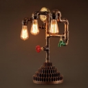Three Light Pipe LED Table Lamp with Gear Design