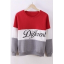 Autumn Winter Fleece Letter Different Print Casual Sweatshirt Mix Color Pullover