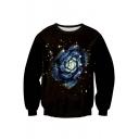 Unisex Fashion Floral Print Round Neck Pullover Sweatshirt S-XL