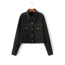 2016 New Style Frayed Cuffs Long Sleeve Lapel Denim Jacket
