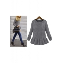 Women's Fashion Ruffle Hem Round Neck Long Sleeve Pullover Sweater