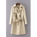 Fashion Notched Lapel Tie Waist Double Breasted Trench Coat
