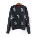 Cute Round Neck Long Sleeve Dog Print Dropped Sleeve Sweater