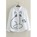 Fashion Cute Cat Fish Embroidered Long Sleeve Lapel Shirt