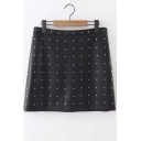 Chic Rivet Embellished Black Skirt with Side Zip