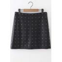 Chic Rivet Embellished Black Skirt with Side Zip
