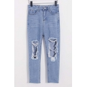 New Arrival Stylish Open Knee High Waist Blue Jeans