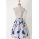 Elegant Floral Print Elastic Waist Zip-Back Midi Skater Skirt