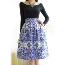 Blue and White Porcelain Print Zip-Back A-Line Skirt