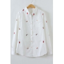 Lapel Embroidery Floral Print Single Breasted Long Sleeve Shirt