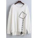 Loose Embellished Pocket with Sennit Drop Long Sleeve High Low Trim Sweater