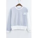 Women's Fashion Color Block Cloud Patchwork Long Sleeve Sweatshirt