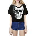 2016 Hot Skull Print Short Sleeve Cropped T-shirt