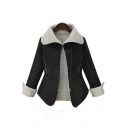 2016 Fall Winter Trendy Contrast Trim Long Sleeve Lapel Coat