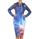 2016 Fall Winter New Cool Galaxy Digital Printed Hooded Sweatshirt Dress
