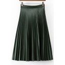 Trendy Plain High Waist Pleated Midi Leather Skirt