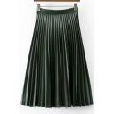 Trendy Plain High Waist Pleated Midi Leather Skirt