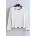 Fashion Contrast Gear Trim Round Neck Long Sleeve Sweater
