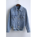 New Arrival Boyfriend Style Asymmetrical Hem Denim Coat