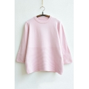 New Fashion Bell-Sleeve Round Neck Knitted Top