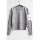 Fashion Striped Detail Long Sleeve Pullover Sweater with Buttons