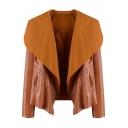 Women's Trendy Lapel Open-Front Long Sleeve PU Jacket Coat