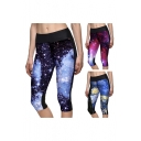 Sexy Mid Waist Galaxy Skinny Cropped Leggings