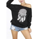 New Arrival Stylish Dream Catcher Print Off the Shoulder Sweatshirt
