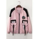 New Arrival Chic Color Block Letter Print Zip Up Baseball Jacket