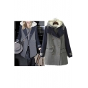 Fashion Hooded Notched Lapel Long Sleeve Double Breasted Color Block Midi Two-Pieces Coat