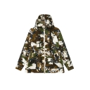 Cool Camouflage Print Zipper Up Drawstring Hooded Coat
