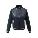 Stand-Up Collar Single Breasted Contrast Long Sleeve Elastic Trim Bomber Jacket