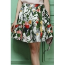 New Stylish Abstract Portrait Print Zip-Back Skater Skirt