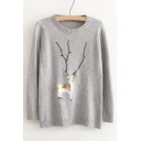 Fashion Sequined Deer Print Beaded Striped Trim Sweater
