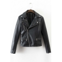 Fashion Notched Lapel Zipper Placket Embroidery Bird Back Leather Jacket